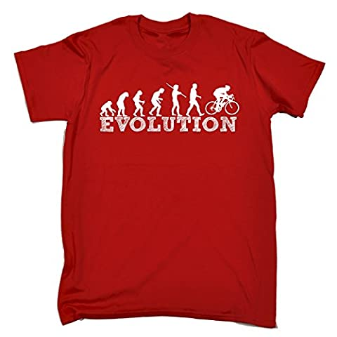 EVOLUTION BICYCLE RACER (L - RED) NEW PREMIUM LOOSE FIT BAGGY T SHIRT - Cycle Mountain Bike Safety Accessories Lights Helmet Shorts Gloves Pedal Slogan Funny Joke Novelty Vintage retro top Mens Ladies Womens Girl Boy tshirt Tees Tee shirts s Fashion Urban Cool