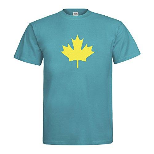 MDMA T-Shirt Kanada Ahorn Blatt Canada Leaf N14-mdma-t00655-308 Textil swimmingpool / Motiv neongelb Gr. L