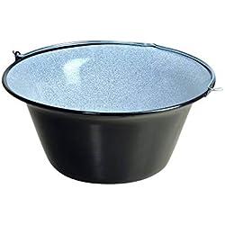 acerto 31169 Bouilloire hongroise originale en goulasch (50 litres) pour trépied * Emaillée * Emaillée * Résistante aux rayures * Neutre en goût | Casserole en goulasch, marmite à soupe