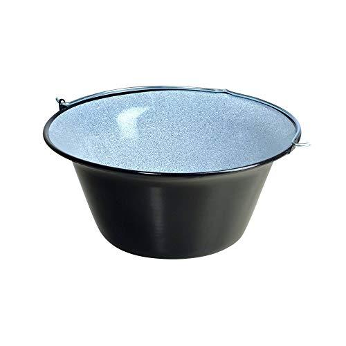acerto 31169 Original ungarischer Gulaschkessel (50 Liter) für Dreibein-Gestell Emailliert Kratzfest Geschmacksneutral Gulasch-Topf Suppentopf Glühweintopf Kochkessel für Kesselgulasch Glühwein-Kessel (Kessel Gewicht)