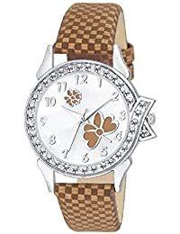 Divine Brown Butterfly Leather Quartz Wrist Watches For Women Watch Watch - For Girls