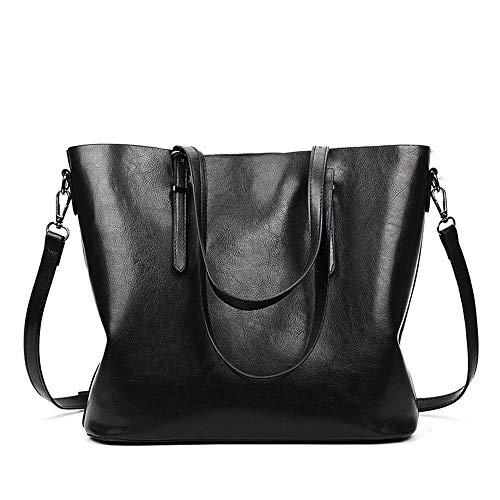 Whlstb borse tote borsa messenger donna casual in lino sintetico con lavorazione a olio moda casual nera