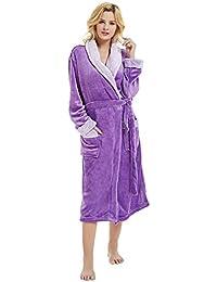 Women Winter Lengthened Plush Shawl Bathrobe Fleece Dressing Gown Fluffy  Bath Robe Housecoat Full Long Sleepwear 7e0192f6a