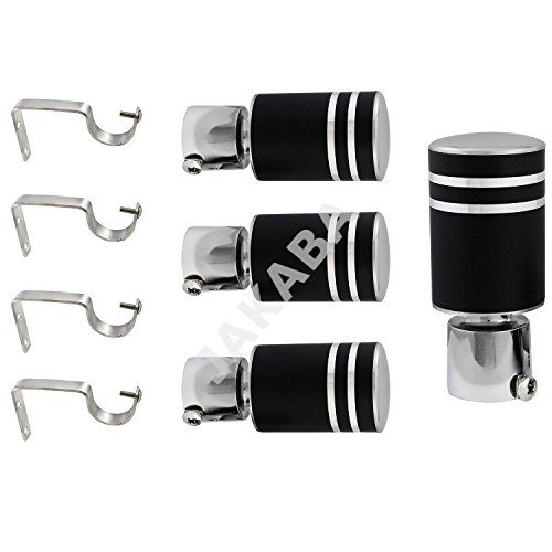 JAKABA Wenge Stainless Steel and Alloy Curtain Finials with Supports - PACK of 8 Pcs. (Finials : 4 Pcs + Supports : 4 Pcs)