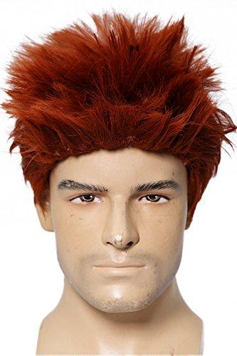 Riddler Perücke Halloween Wig Cosplay Kostüm Wein Rot Kurz Haar Zubehör Hair Accessories (Riddler Kostüm Zubehör)
