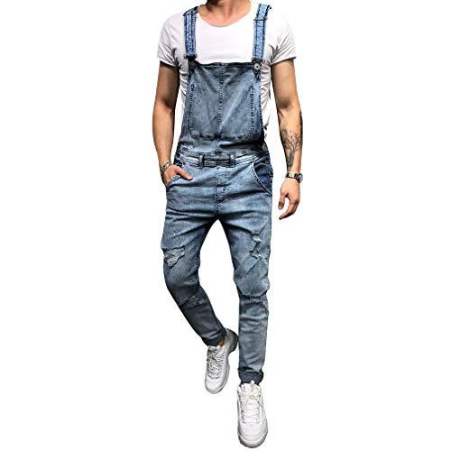 Juleya Pantalones de Mezclilla para Hombres Peto de Babero Peto de Trabajo Clásico Ajuste Regular Destruido Jeans Stonewash Monos