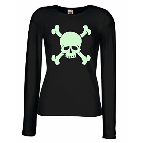 Weibliche Langen Ärmeln T-Shirt Totenkopf, Warnzeichen - Nicht berühren (XX-Large Schwarz Fluoreszierend)