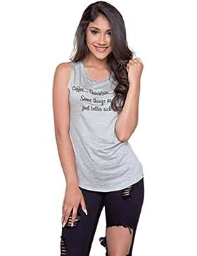 LHWY Las Mujeres Suéter Casual T Camisa Blusa Sin Mangas De Impresión