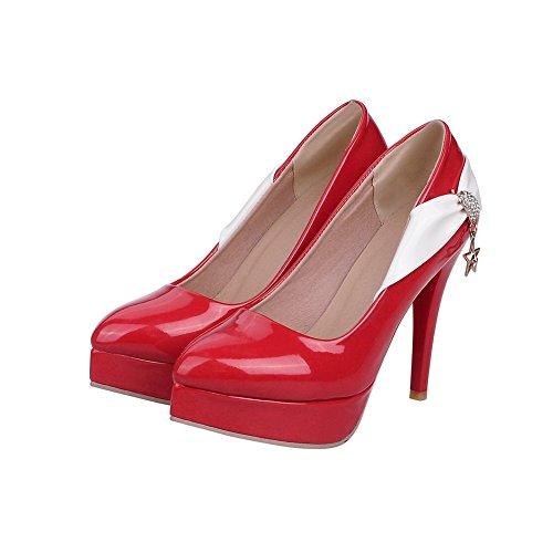 AllhqFashion Damen Lackleder Ziehen Auf Spitz Zehe Stiletto Pumps Schuhe Rot