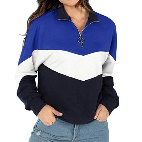 LILIHOT Frauen Herbst Patchwork O-Ring ReißVerschlüSse Sweatshirt Pullover Shirt Hoodie Damen Kapuze Lang Kapuzenpullover Langarm Winter Sweatshirts Sport ReißVerschluss Outerwear