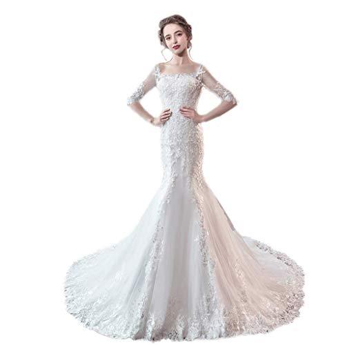 Vestido de Novia Palabra Hombro Espalda Piso Boda Boda Boda Sirena Vestido de Noche (Color : White, tamaño : XXL)