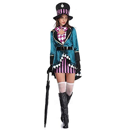 Cotangle-JR Frauen Halloween-Kostüm Halloween-weiblicher Hut-Erwachsene Magier-Leistungs-Kleidungs-Tiertrainer-Stadiums-Leistungs-Kleidung (Farbe : Blau, Größe : - Weibliche Magier Kostüm