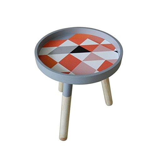 Moderne Portable Table basse ronde en bois amovible avec accents de petite table Ckd Table à thé avec 3 Legs. détachables Motif carreaux multicolores. Dia.29,2 cm X H34,9 cm