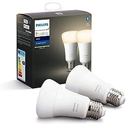 Philips Hue Ampoules LED Connectées White E27 Compatible Bluetooth, Fonctionne avec Alexa Pack de 2