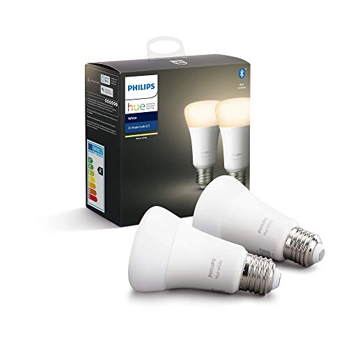 Philips Hue Ampoules LED Connectées White E27 Compatible Bluetooth, Fonctionne avec Alexa Pack de 2