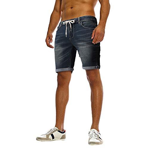 Preisvergleich Produktbild Jeanshosen Herren Skinny Stretch Denim Pants Distressed zerrissene ausgefranste Slim Fit Jeans Herren zerrissene knielange Lochhose