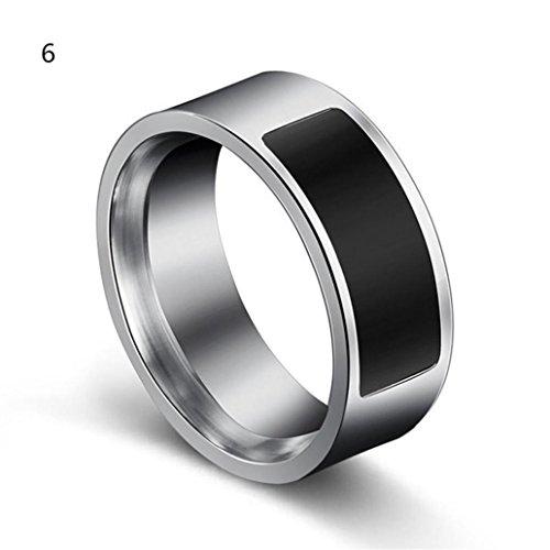 samLIKE Spezielle Mode NFC multifunktionale intelligente wasserdichte Smart Ring Verschleiß Finger Digital Ring für Android und Windows NFC Mobiles, Größen 6-13, Silber (6)