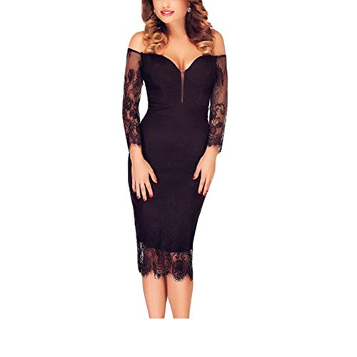 PU&PU Femmes Party / Cocktail Club Noir Lace Patchwork à manches longues V Neck Off Shoulder Bodycon Dress Black