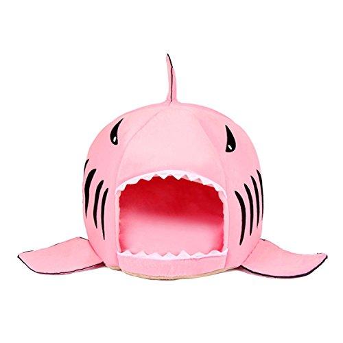 Cuccia squalo, jeogyong forma di squalo rotonda letto per gatti e cane con cuscino rimovibile (large, rosa)