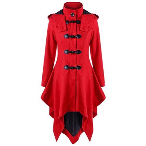 Abrigos Mujer Vintage Fashion Ropa Gótica Largos Gabardina Elegantes Slim Fit Stand Cuello Manga Larga Espesor Termica Parkas Outwear Chaqueta Otoño Invierno (Color : Rot, Size : SG)