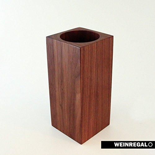 WEINREGALO - Weinkühler Nussbaum aus Holz, 10x10x 22 cm - kühlt passiv, das Design modern und edel