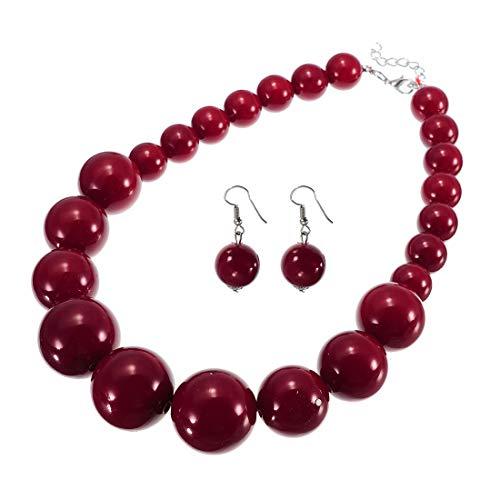 XBY Damen Collier aus Resin Modeschmuck Gross Perlen Kette Rot Statement Halskette Choker Necklace Schmuck Set Ohrringen Ohrhänger für Hochzeit Party Geschenk (Farb 7)