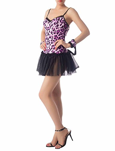 iB-iP Damen Pink Leopard Tutu Rock Stylish Backless Cami Mini Erotisches Kostüm, größe: S, Leopard