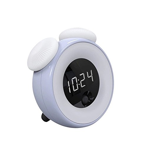 TYXQ Alarm Clock LED Digital Wake up Light,USB Laden Kinder Wecker Dimmbare Automatische aus Nacht Licht LED Display Snooze Mode,Touch Control and Körpererkennung
