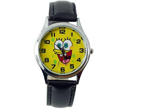 TAPORT® Kinder Uhr Analog Quarzwerk mit Leder armband Sponge Bob Square Pants Rund Schwarz (Spongebob Ersten Geburtstag)