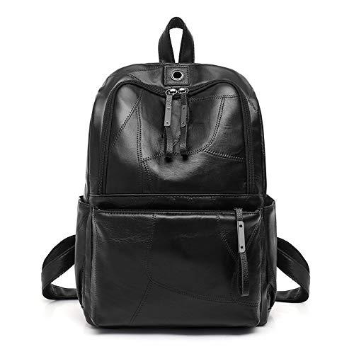 JIEIIFAFH Genähte Linie Schaffellrucksack europäische und amerikanische einfache Studententasche mit großer Kapazität Lässige Tagesrucksäcke - Genähte Linie