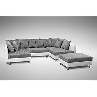 Küchen-Preisbombe Sofa Couch Ecksofa Eckcouch in weiss/hellgrau Eckcouch mit Hocker - Minsk XXL