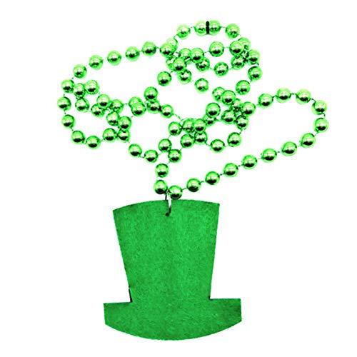 Maritown St. Patrick's Day Grüne Accessoires Halskette Grüner Hut-Anhänger Glücksbringer-Kostüme Happy Saint Patrick Day Party Play Kostüm, Dekoratives saisonales grünes Patty