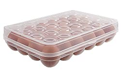 Absales Plastic Egg Box Case 24 Holder Storage Container Fridge Clear Large Capacity Portable Home Picnic, egg box for 24 eggs, Set of 1 Pieces