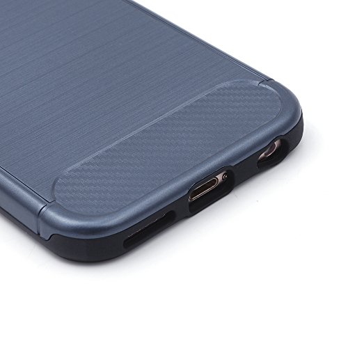 iProtect TPU Schutzhülle Apple iPhone 6, 6s Carbon Case brushed rot Dunkelblau