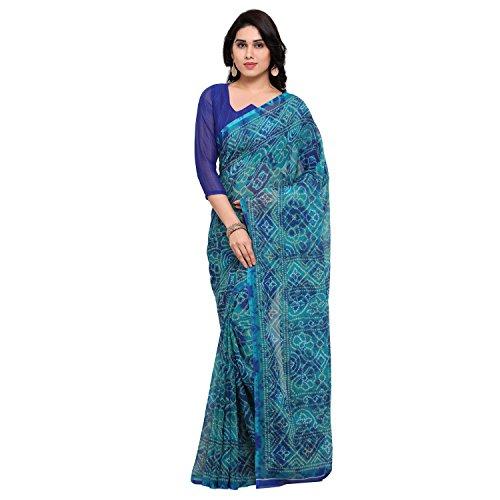 Vaamsi Chiffon Saree with Blouse Piece (Empress1066_Blue_One Size)