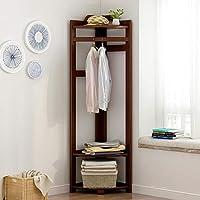 POETRY Floor Coat Rack,With 3-tier Storage Shelves Clothes Rail Solid Wood Garment Rack For Bedroom Living Room Corner