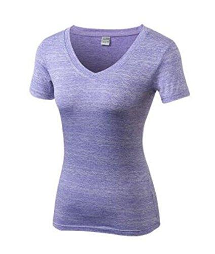 Gogofuture Femme T-Shirt de Sport Slim Col V Manches Courtes Space-Dry Top Blouse Basique Casual T-Shirt Respirant Pour Yoga Fitness Joggings Séchage Rapide purple