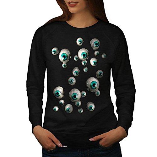 Mehrere Augapfel Spaß Mensch Schau Damen NEU Schwarz XL Sweatshirt | Wellcoda (Mehrere Menschen Kostüm)