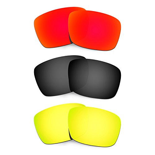 HKUCO Plus Mens Replacement Lenses For Oakley Fuel Cell Red/Black/24K Gold Sunglasses