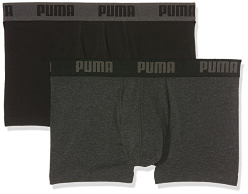 Puma Herren Basic Trunk 2p Boxershorts Dark Grey Melange/Black