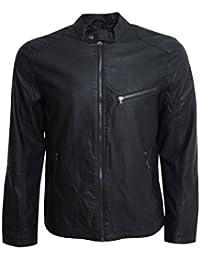 Crosshatch Designer Racer Jacket Inspired Black Soft Synthetic Leather RRP £50