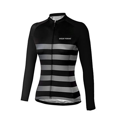 Uglyfrog Bike Wear Damen Atmungsaktiv-Langarm-Rennradtrikot Rennrad Trikot, Gore Selected Fabrics, Power Lady Great Gifts Fahrradbekleidung