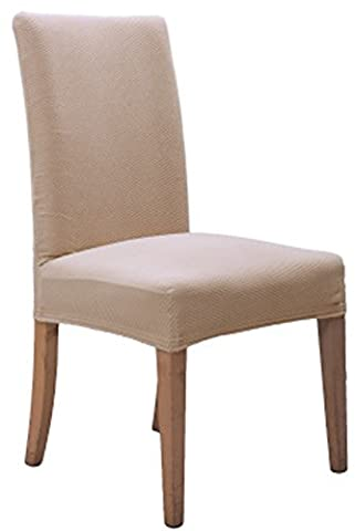 Comfy Home Knit Solid Color Stretchy Removable Washable Chair Covers Dining Room Chair Protector Cover For Hotel Banquet Wedding Party(6,Beige)