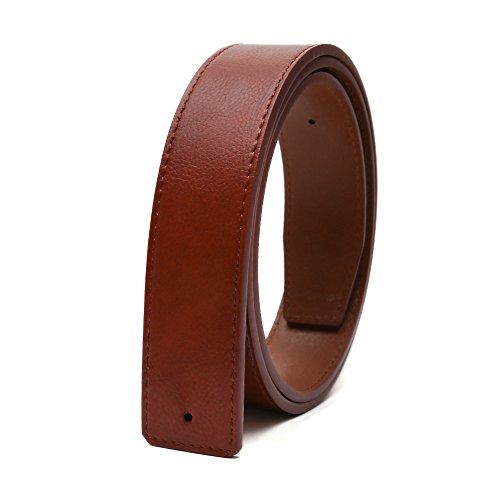 Gurscour mens dress cuero de vaca cinturón inferior sin hebilla para la hebilla de la placa Marrón 120cm para talla 38'-40'