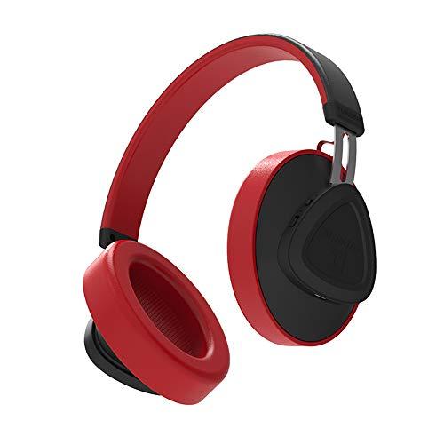 JAK0 Bluetooth Kopfhörer Über Ohr Mit Hallo-Fi Stereo Mic Drahtlosen Kopfhörern Mit Sprachsteuerung Bluetooth 5.0 Headset Für Telefone Und Musik, Reisen Und Arbeit,Rot