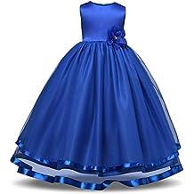 XIU*RONG Las Niñas Princesa Vestido Niñas Vestido De Encaje Princesa Puff Hilados Falda Azul Marino 140Cm.