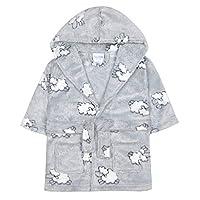 Babytown Baby Boys & Girls Lamb Plush Fleece Dressing Gown, 18 - 24 Months, Grey