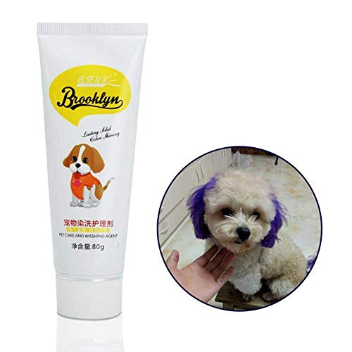 EUYOUZI Purple Dog Hair Dye, New Pets Hair Dye - Safe Bright/Hypoallergenic/Permanent Non-Toxic/Fun Shade, 80g Pet Dog Cat Hair Coloring Dyestuffs Dyeing Pigment Agent Supplies for Creative Grooming