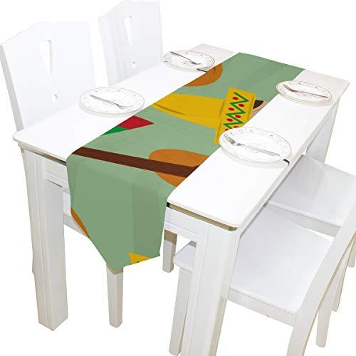Yushg Gitarre Musikinstrument Kommode Schal Tuch Abdeckung Tischläufer Tischdecke Tischset Küche Esszimmer Wohnzimmer Home Hochzeitsbankett Decor Indoor 13x90 Zoll