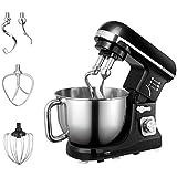 Aicok Robot Pâtissier, Robot de Cuisine, Crochet Double, Fouet, Feuille, Couvercle, Bol en Inox de 5L, 6 Vitesses, 1000W, Couleur Noir